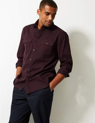 Marks and Spencer Pure Cotton Textured Shirt with Pockets