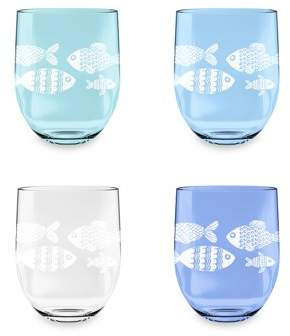 Life Happens LIFE HAPPENS - 16 OZ NAUTICAL SET OF 4 ETCHED PLASTIC STEMLESS WINE