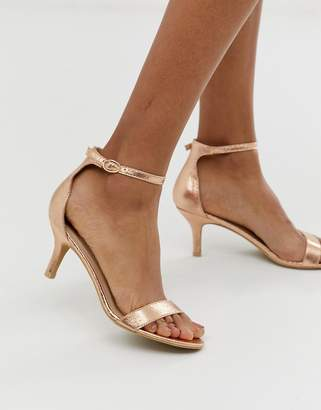 Glamorous rose gold kitten heel sandals