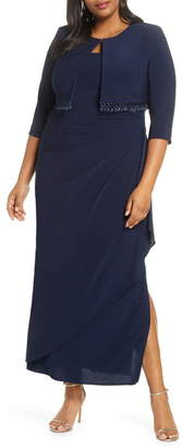 Alex Evenings Side Ruched Evening Dress with Bolero Jacket