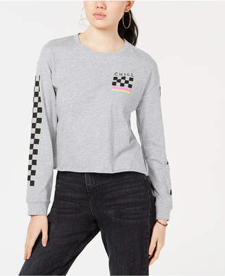 Rebellious One by Hybrid Juniors' Chill Cropped Long-Sleeved Graphic T-Shirt