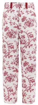 Bode - Toile Print Satin Trousers - Mens - Burgundy Multi