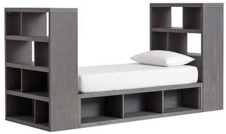 Pottery Barn Teen Store-It Storage Tower Daybed Set (1 3-Cubby Daybed + 2 End of Bed Shelves), Brushed Charcoal