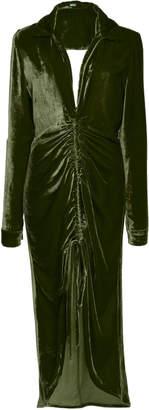 Cult Gaia Shira Gathered Velvet Shirt Dress
