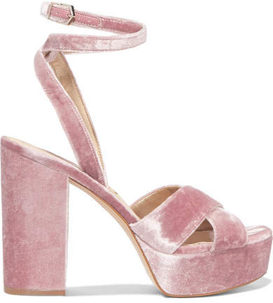 Sam Edelman - Mara Velvet Platform Sandals - Antique rose