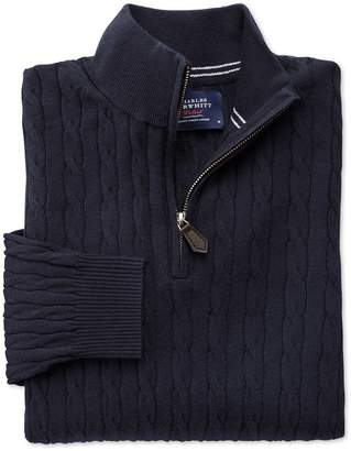 Charles Tyrwhitt Navy Cotton Cashmere Cable Zip Neck Cotton/Cashmere Sweater Size XXL