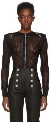 Balmain Black Mesh Bodysuit