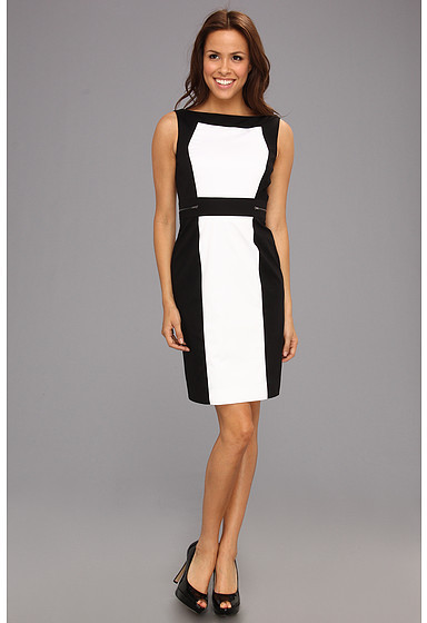 Tahari by Arthur S. Levine Tahari by ASL S/L Color Block Cotton Dress with Zipper Details