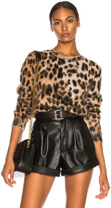 Saint Laurent Leopard Print Mohair Sweater