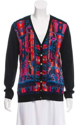 Versace Silk-Accented Wool Cardigan