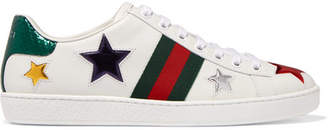 Gucci Ace Metallic Ayers-trimmed Leather Sneakers - White