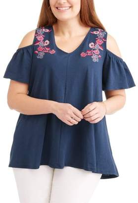 Cherokee Women's Plus Cold Shoulder with Embroidery Top