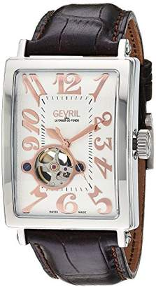 Gevril Avenue of Americas Intravedere Men's Swiss-Automatic Open Heart Rectangle Face Brown Leather Strap Watch