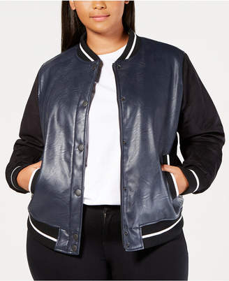 Levi's Plus Size Faux-Leather Varsity Bomber Jacket