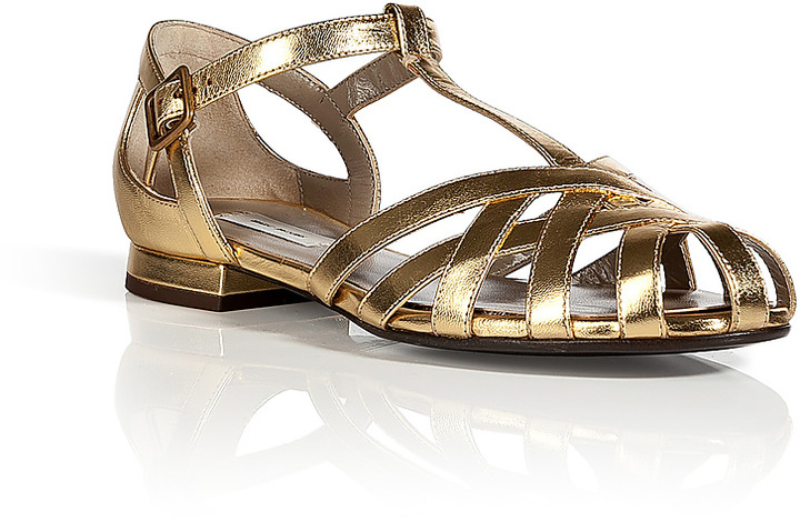 Marc Jacobs Strappy Flat Leather Sandals in Gold