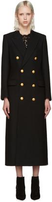 Saint Laurent Black Gold Button Coat $5,230 thestylecure.com