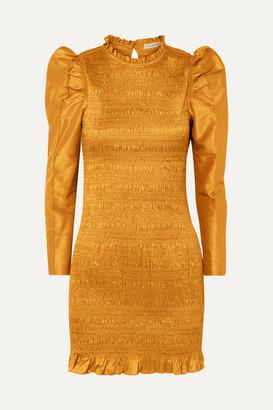 Ulla Johnson Aurele Shirred Taffeta Mini Dress - Mustard