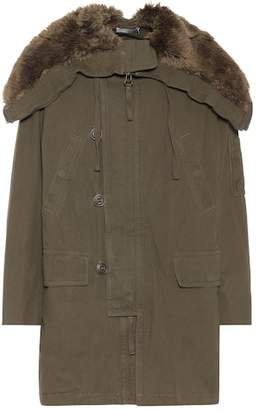 Vince Faux-fur trimmed cotton coat