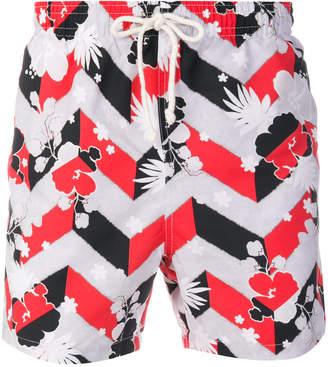 MAISON KITSUNÉ floral chevron swim shorts