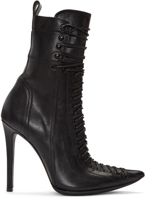 Haider Ackermann Black Lace-Up Boots $2,030 thestylecure.com