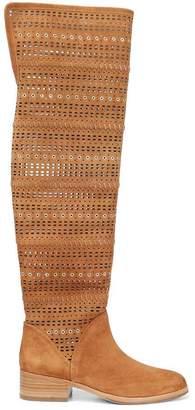 Donald J Pliner DEVYA, Embellished Perforated Kid Suede Over-The-Knee Boot