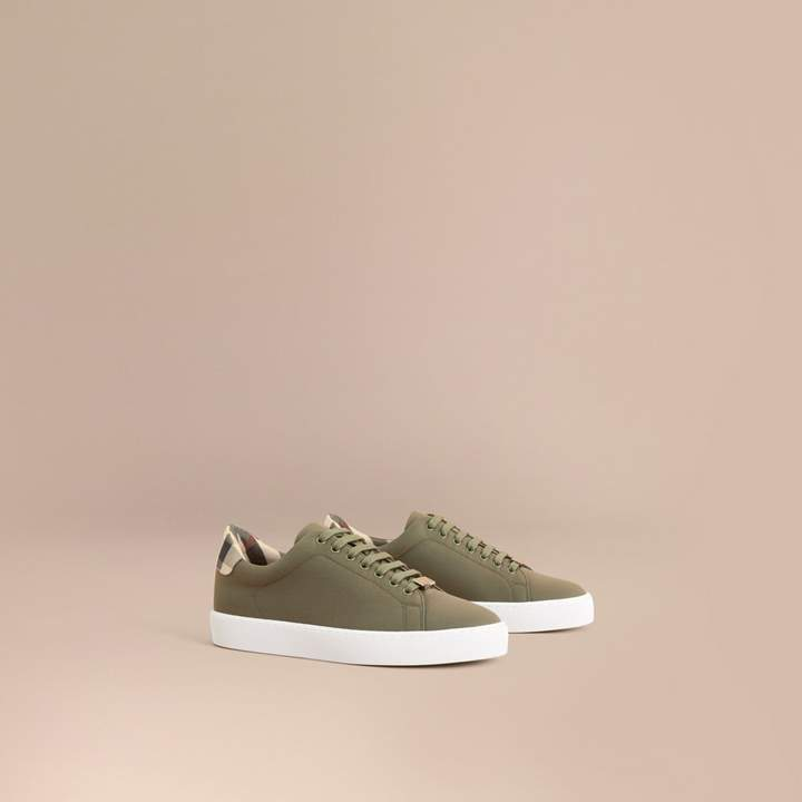Burberry Check Detail Cotton Trainers