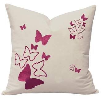 "HYM Butterflies Embroidered Pillow - Electric Raspberry - 21"" x 21\"""