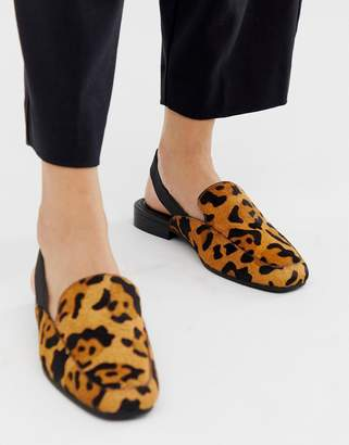 2a3f52b8d4d Möve Asos Design ASOS DESIGN Over leather slingback loafers in leopard print