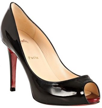 Christian Louboutin black patent calf peep toe pumps