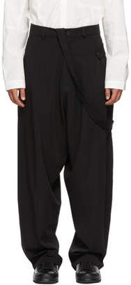 Isabel Benenato Black Wool Dropped Trousers