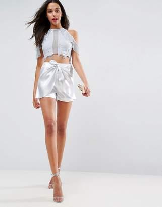 Asos Summer Metallic Belted Shorts