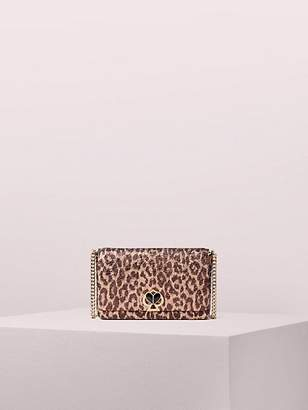 Kate Spade Nicola Metallic Leopard Twistlock Chain Wallet, Rose Gold