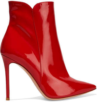 Gianvito Rossi Levy 100 Patent-leather Ankle Boots - Red