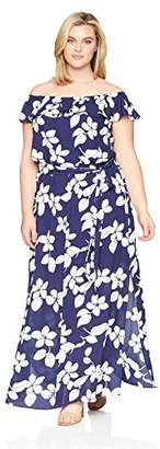 Adrianna Papell Women's Plus Simple Delight Ruffled Maxi Dress