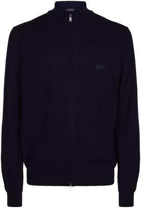 HUGO BOSS Wool Zip Front Cardigan