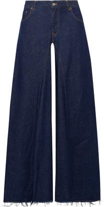 MM6 MAISON MARGIELA Frayed High-rise Wide-leg Jeans - Dark denim