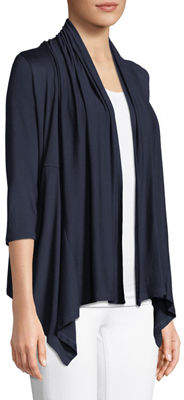 Neiman Marcus 3/4-Sleeve Cascading Cozy Cardigan