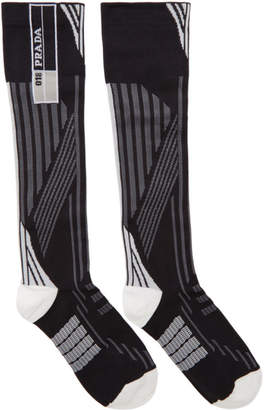 Prada White and Black Logo Socks