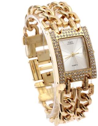 Dolce & Gabbana THE BRAND G&D Women's Gold-Tone Stainless Steel Band Luxury Quartz Watch with Link Bracelet