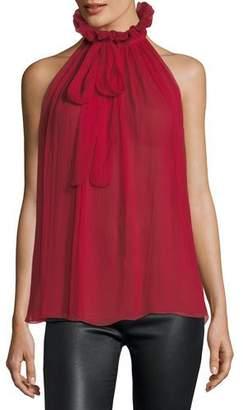 Redemption Sleeveless Tie-Neck Victorian Silk Blouse