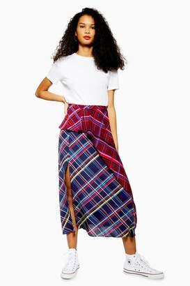 Topshop Mixed Check Midi Skirt