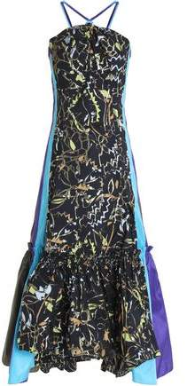 Paneled Jacquard And Taffeta Midi Dress