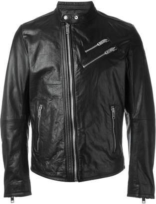 Diesel wolf rule printed lining biker jacket