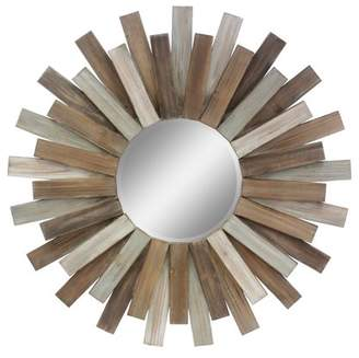 "STONEBRIAR COLLECTION Stonebriar Large Round 32"" Wooden Sunburst Hanging Wall Mirror with Attached Hanging Bracket"