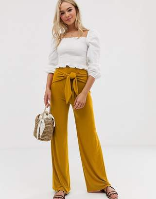 Love tie wide leg pants