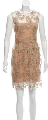 Marchesa Embroidered Mini Dress