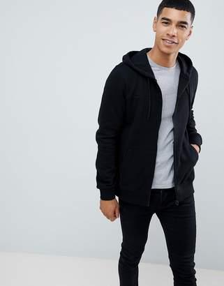 Burton Menswear zip through hoodie in black