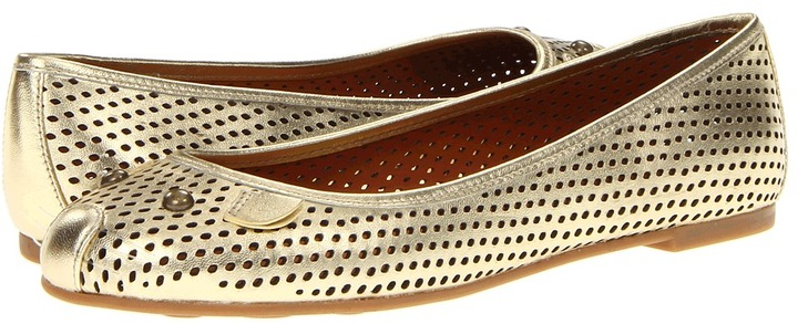 Marc by Marc Jacobs Perforated Mouse Flats (Nappa Lame Champagne) - Footwear