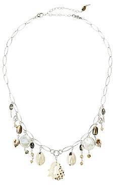 Chan Luu Women's Sterling Silver, 2-14MM Pearl & Shell Charm Necklace