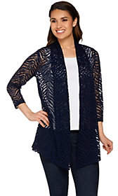 Susan Graver Stretch Lace Open Front Cardigan